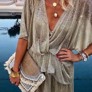 Gold/silver layering mini dress